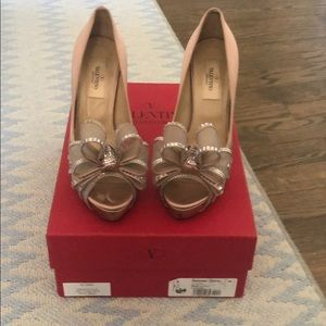 Valentino Crystal bow wedding shoes size 36